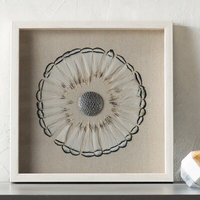 Aurora Brown Tipped Feather Circle Shadow Box Wall Décor