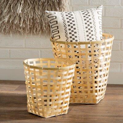 Coriander 2 Piece Round Bamboo Woven Basket Set
