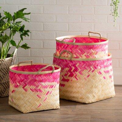 Molokai 3 Piece Decorative Basket Set Color: Pink