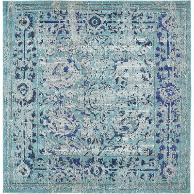 Charleena Blue Area Rug Rug Size: Rectangle 8 x 8