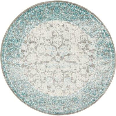 Patenaude Light Gray Oriental Area Rug Rug Size: Round 4