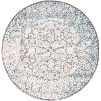 Patenaude Light Gray Oriental Area Rug Rug Size: Round 6