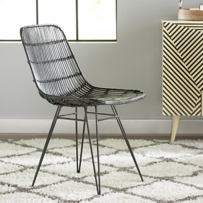 Karesinda Braided Rattan Side Chair Finish: Black