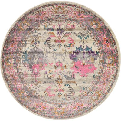 Charlena Pink Area Rug Rug Size: Round 8 x 8