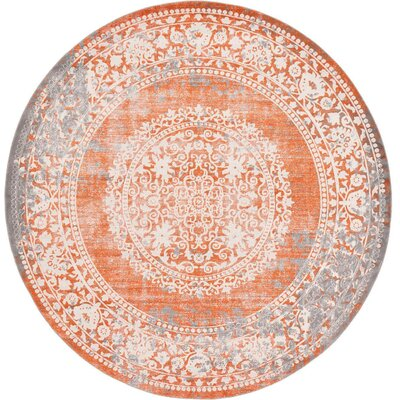 Colebrook Orange Area Rug Rug Size: Round 8