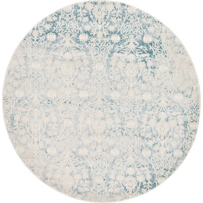 Patenaude Light Blue Area Rug Rug Size: Round 6