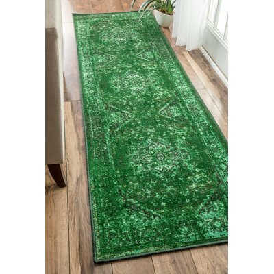 Radeema Green Area Rug Rug Size: Runner 26 x 12