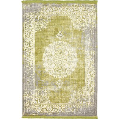 Omri Light Green Area Rug Rug Size: Rectangle 4 x 6