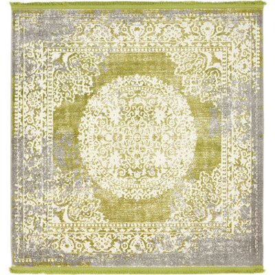 Twila Light Green Area Rug Rug Size: Square 4