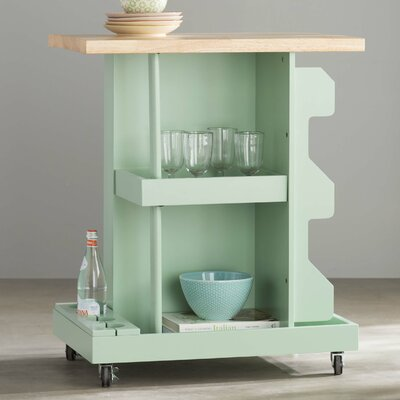 Diaz Kitchen Cart with Wood Top Base Finish: Mint