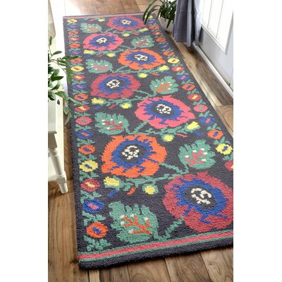 Isham Hand-Hooked Charcoal Area Rug Rug Size: Runner 26 x 10