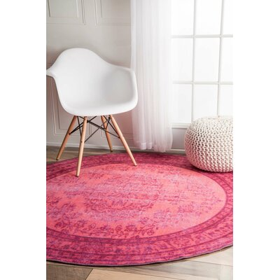 Nielsen Pink Area Rug Rug Size: Round 55