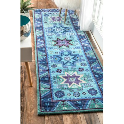 Ayon Hand-Tufted Blue Area Rug Rug Size: Runner 2'6