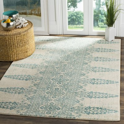Elson Ivory/Teal Area Rug Rug Size: Rectangle 9 x 12
