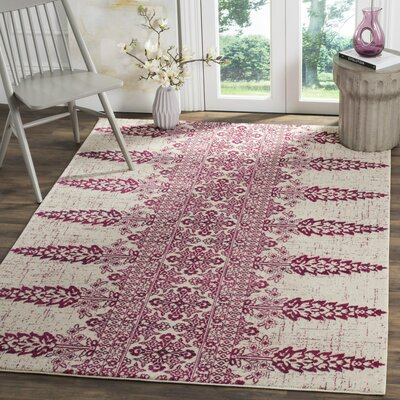 Elson Ivory/Fuchsia Area Rug Rug Size: Rectangle 9 x 12