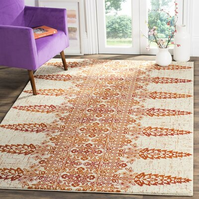 Elson Ivory/Gold Area Rug Rug Size: Rectangle 51 x 76