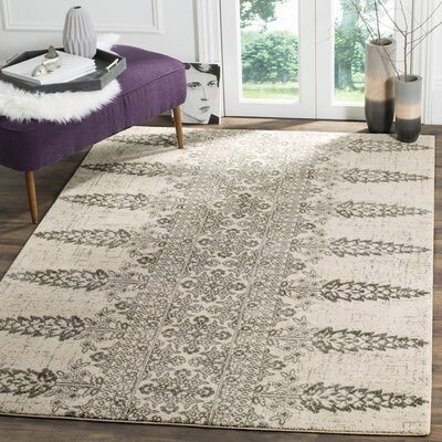Elson Ivory/Silver Area Rug Rug Size: Rectangle 9 x 12