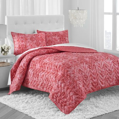 Nandai Quilt Set Size: Twin, Color: Coral