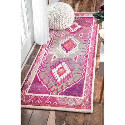 Bhatia Hand-Tufted Pink Area Rug Rug Size: Runner 26 x 8