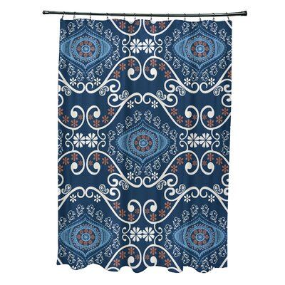 Soluri Illuminate Print Shower Curtain Color: Navy Blue
