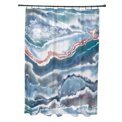 Soluri Remolina Print Shower Curtain Color: Blue