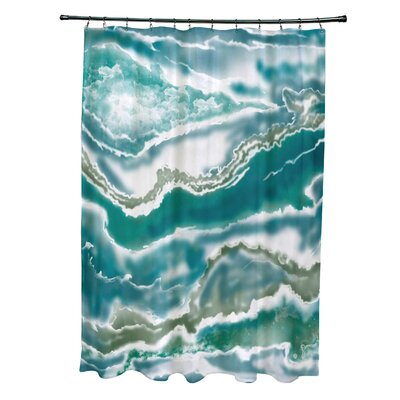 Soluri Remolina Print Shower Curtain Color: Teal