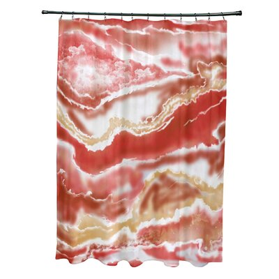 Soluri Remolina Print Shower Curtain Color: Orange