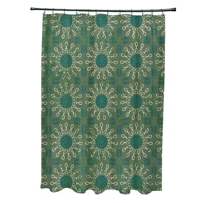 Soluri Sun Tile Print Shower Curtain Color: Green