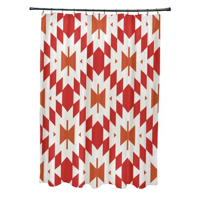 Soluri Geometric Print Shower Curtain Color: Orange