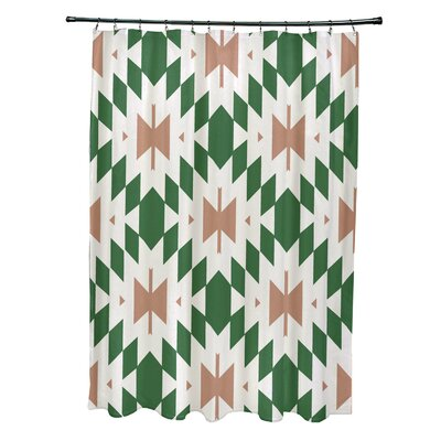 Soluri Geometric Print Shower Curtain Color: Green
