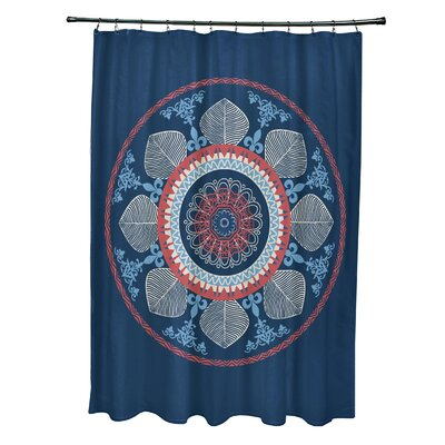 Soluri Stained Glass Print Shower Curtain Color: Navy Blue