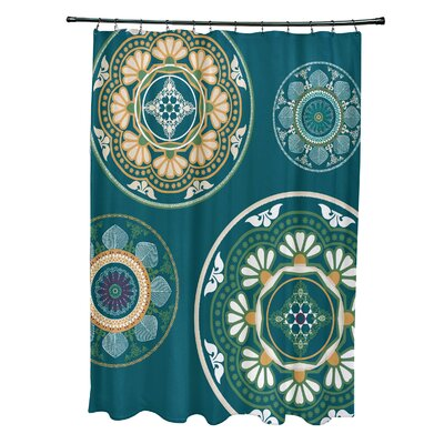 Soluri Medallions Print Shower Curtain Color: Teal