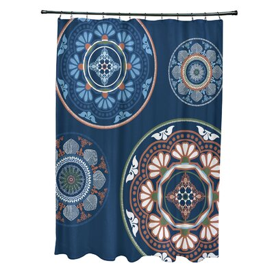 Soluri Medallions Print Shower Curtain Color: Blue