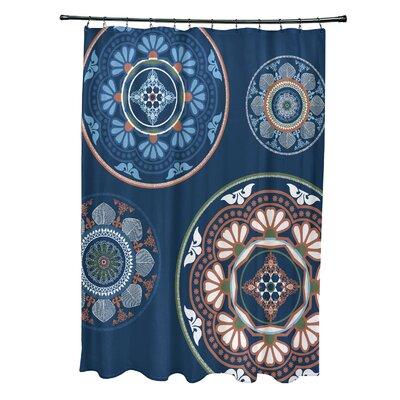 Soluri Medallions Print Shower Curtain Color: Blue