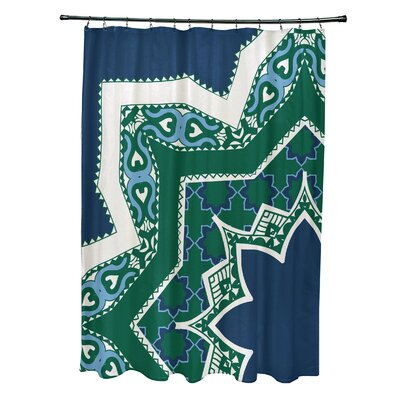 Soluri Rising Star Print Shower Curtain Color: Navy Blue