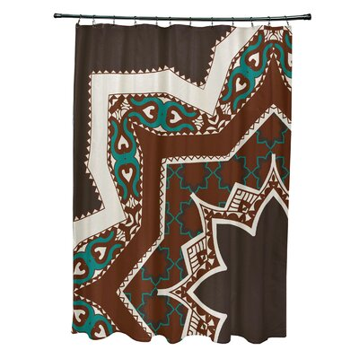 Soluri Rising Star Print Shower Curtain Color: Brown