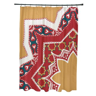 Soluri Rising Star Print Shower Curtain Color: Gold