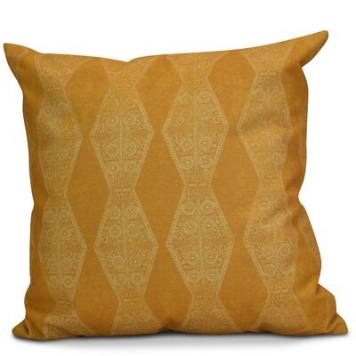 Soluri Pyramid Striped Geometric Outdoor Throw Pillow Size: 18 H x 18 W x 2 D, Color: Gold