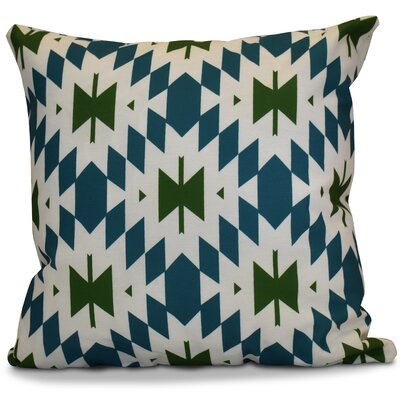 Soluri Geometric Outdoor Throw Pillow Color: Teal, Size: 18