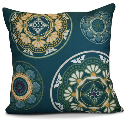 Soluri Medallions Geometric Throw Pillow Color: Teal, Size: 18