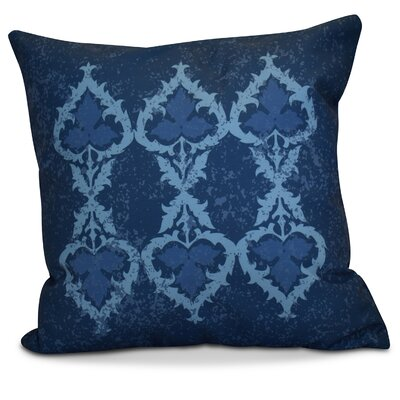 Soluri Geometric Outdoor Throw Pillow Size: 18 H x 18 W x 2 D, Color: Navy Blue