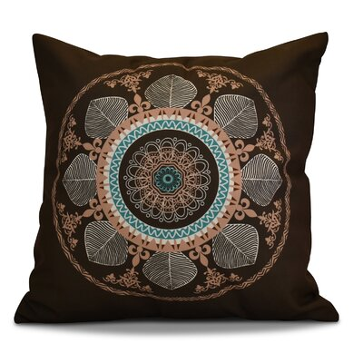Soluri Stained Glass Geometric Outdoor Throw Pillow Color: Brown, Size: 18 H x 18 W x 2 D