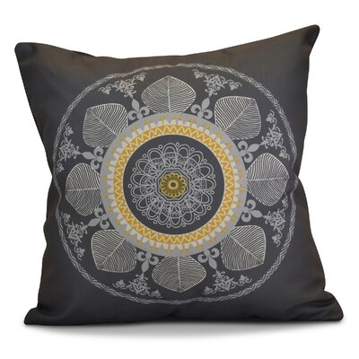 Soluri Stained Glass Geometric Outdoor Throw Pillow Size: 16 H x 16 W x 2 D, Color: Gray