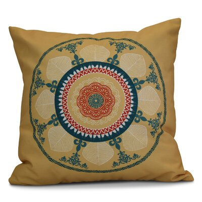 Soluri Stained Glass Geometric Outdoor Throw Pillow Size: 16 H x 16 W x 2 D, Color: Gold