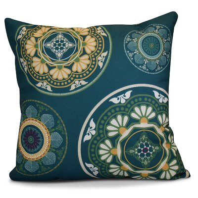 Soluri Medallions Geometric Outdoor Throw Pillow Color: Teal, Size: 18