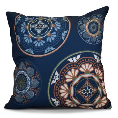 Soluri Medallions Geometric Outdoor Throw Pillow Size: 18 H x 18 W x 2 D, Color: Blue