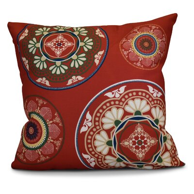 Soluri Medallions Geometric Outdoor Throw Pillow Size: 16 H x 16 W x 2 D, Color: Red