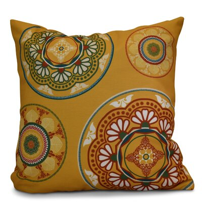 Soluri Medallions Geometric Outdoor Throw Pillow Size: 18 H x 18 W x 2 D, Color: Gold