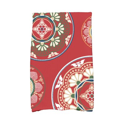 Soluri Medallions Geometric Print Hand Towel Color: Red