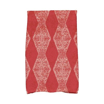 Soluri Pyramid Stripe Geometric Print Hand Towel Color: Red